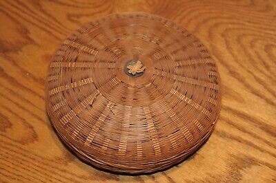 Antique Chinese Sewing Basket With Coin Signed Inside Asian China Baskets Woven.