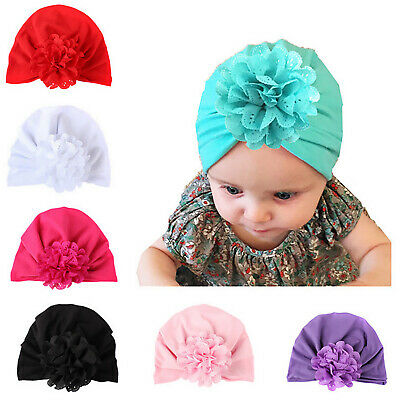 Baby Toddler Girls Bow Knot Turban Cap Floral Headwrap India Headband Beanie Hat