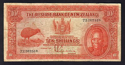 NEW ZEALAND P-154. (1934) 10 Shillings - Lefeaux.. Prefix 7Z.. Fine