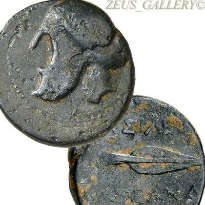 GREEK HELMET, Spear head KASSANDER Macedon RARE Ancient Greek 1 Unit Coin 305 BC