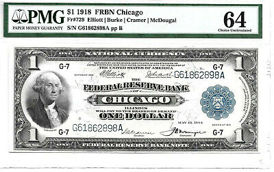 Fr 729 $1 1918 Federal Reserve Bank Note Chicago Pmg 64 Unc Free Shipping