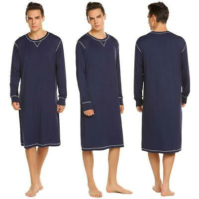 Men Casual Solid O Neck Long Sleeve Sleep Shirt Nightshirt Sleepwear MDY
