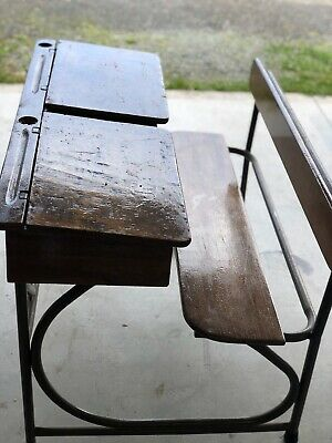 Vintage Children's Double School Timber Double Desks