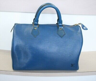 AUTHENTIC LOUIS VUITTON SPEEDY 30 Epi Toledo Blue Handbag No.1165