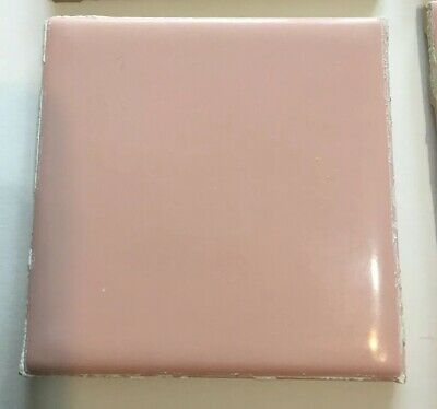 """Lot of 12 Vintage Romany Spartan 1960's Square Wall Tile 4 1/4"""" Blush Pink"""