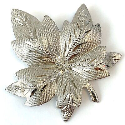 Vintage Sterling Silver Brooch Etched Maple Leaf Pin Silver Jewellery