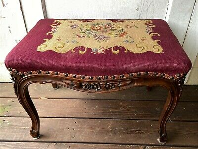 Antique Carved Wooden Upholstered Tapestry Victorian Footstool Ottoman