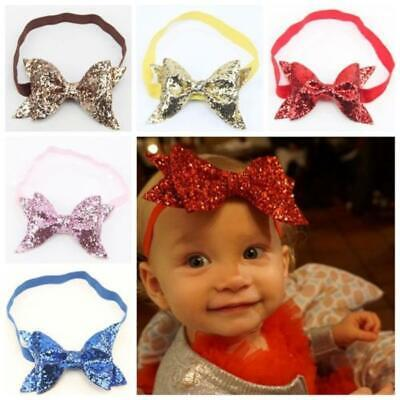 Sequin Sweety Girls Bling Headband Baby Headware Knot Double Bow Hairband
