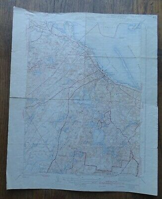"""1942 Map PLYMOUTH MASS. QUAD Geological Survey 16x20"""" Kingston, Carver, etc"""