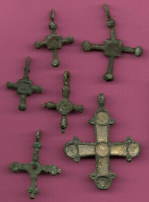 Lot of 6 Russia Bronze Ortodox Cross ca 1050 11-12th Viking Byzantine 670