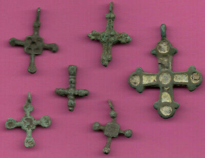Lot of 6 Russia Bronze Ortodox Cross ca 1050 11-12th Viking Byzantine 707