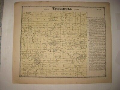 Antique 1874 Trumbull Township Footville Ashtabula County Ohio Handcolored Map