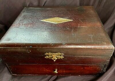 """antique lg wooden box full of antique drafting tools+supplies+pens, 10 x 9 x 5"""""""