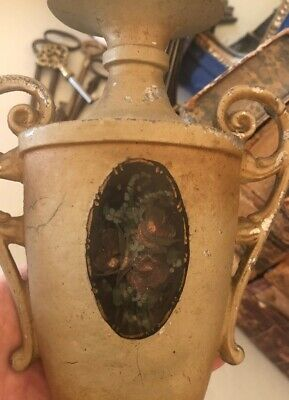 Antique French Painted Cottage Roses Cast Metal Table Urn Shape Boudoir Lamp