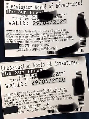 CHESSINGTON TICKETS ~ WEDNESDAY 29th APRIL 2020, 29/04