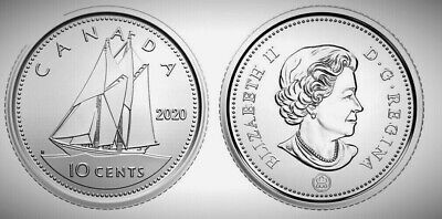Canada 2020 First Strike BU UNC Ten Cents Dime From an RCM Mint Roll!!