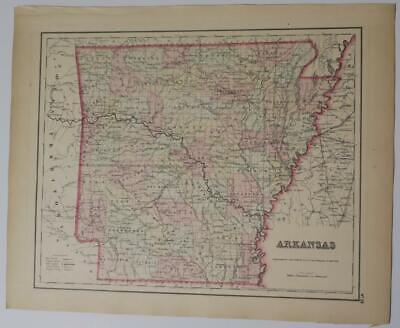 ORIGINAL ARKANSAS MAP FROM COLTON'S 1857 Atlas,COUNTIES,INDIAN TERRITORY,PLATS