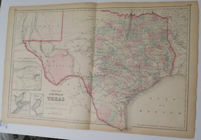 ORIGINL TEXAS DOUBLE-PAGE MAP FROM COLTON'S 1857 Atlas,COUNTIES,INDIAN TERRITORY