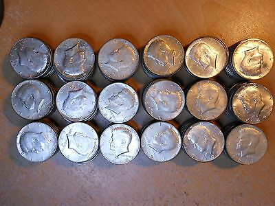 40% Silver Kennedy Halves Lot Of 9 Rolls - 180 Coins Year 1965-1969 -$90.00 Face
