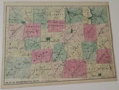 1872 Susquehanna County PA HAND-COLORED MAP,TOWNSHIPS,VILLAGES,CREEKS,RAILROADS