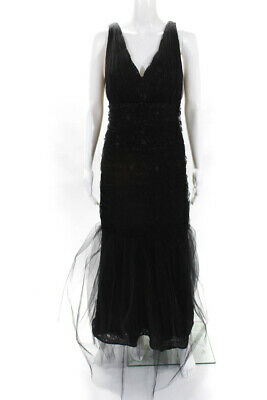 ML Monique Lhuillier Womens Lusting Over You Lace Gown Black Size 16 10371533