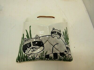 Hand Made Painted Raccoon Wall Pocket Vase Pottery Porcelain