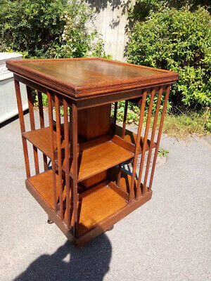 Victorian antique Arts & Crafts solid oak revolving library bookcase