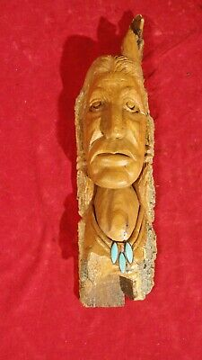 Great Hand Carved Native American Wall Mount Of Warrior-Turquoise Inlay