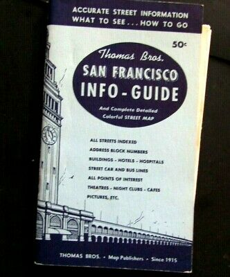 Rare 1957 Thomas Bros Map & Info Guide Color Street Map & Candlestick Park Inset