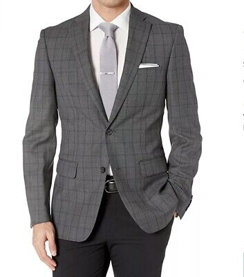 DKNY Men's Wool Slim Fit Suit Grey Check Size 42 REG Retail $650 New With Tags