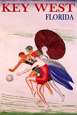 POSTER CAPE FLORIDA KEY BISCAYNE SUMMER GIRL SUN FASHION VINTAGE REPRO FREE S//H