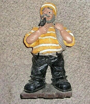 "Vintage  SAILOR Nautical Folk HAND CARVED WOOD Sculpture 11"" Tall"