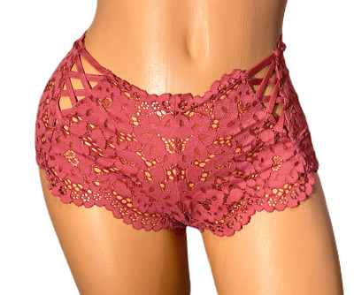 VICTORIAS SECRET SEXY lace up smooth SHORTIE floral lace Boyshort Panty Medium
