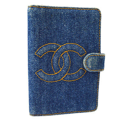 CHANEL CC Logos Agenda Notebook Cover Denim Canvas Indigo 4633064 AK33262b