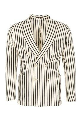 Eleventy Blazer Men's 52 SALE !! Cream Slim Fit Striped Cotton