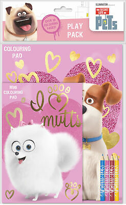 The Secret Life of Pets Play Pack Colouring Pads Pencils Activity Set Kids