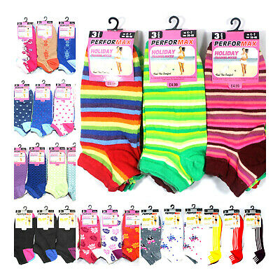 3-6-12 Pairs Ladies Trainer Liner Sports Socks Womens Girls Funky MEGA MIX