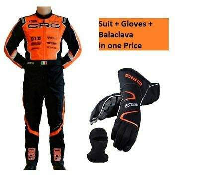Kart Racing CRG 2020 Orange Racing Suit FIA homologated and Karting Gloves