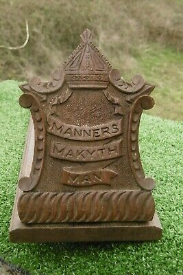 SUPERB 19thc OAK CARVED BOOK SHELF WITH BISHOP'S MITRE & 'MANNERS MAKYTH MAN'