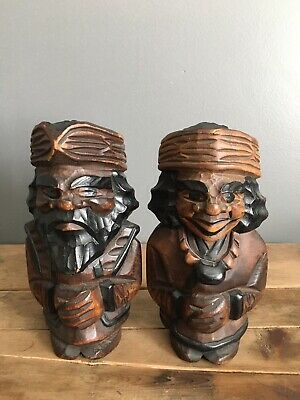 Vintage Folk Art Hand Carved Wooden Bearded Man Woman Figures Bookends Statues