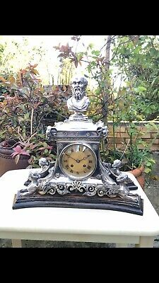 Antique 19thC English Solid Silver Mantel Clock London 1864 By Stephen Smith& WN