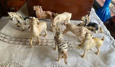 Antique Carved Miniature Chinese Horse Figurines