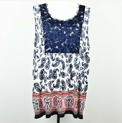 Avenue Womens Sleeveless Top Blue Lace Paisley Print Stretchy Plus Size 26-28