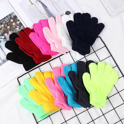 Winter Boy Girl Candy Color Kids Stretch Knitted Glove Children
