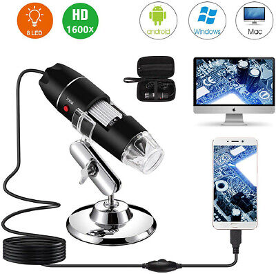 40X-1600X USB Digital Microscope 8 LED Magnification Endoscope Camera + Case