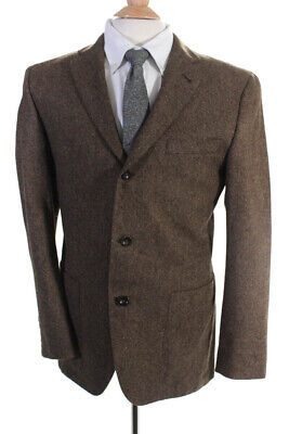 Hickey Mens Three Button Notched Lapel Blazer Brown Wool Size 40