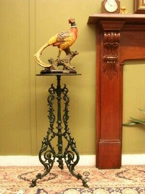 ANTIQUE PAINTED CAST IRON DISPLAY PEDESTAL / PLANT STAND / SIDE TABLE ~ c1900s
