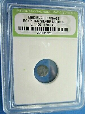 Medieval Coinage Egyptian Silver Nummis c 1400-1600 AD in sealed case Low Grade