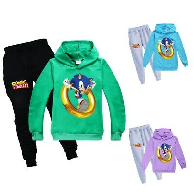 Sonic the hedgehog Youtuber Childrens Trouser Suit Hoodies Tops+ Pants Age 2-16