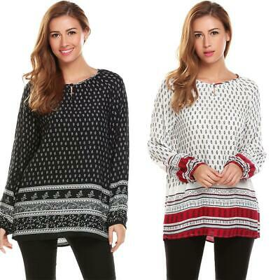 Women Ethnic Style O-Neck Long Sleeve Print Casual Loose Blouse Tops EHE8 03